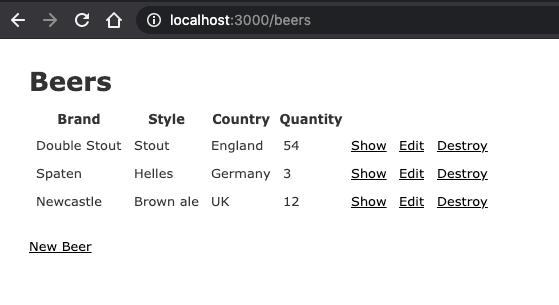 Rails auto-generated beer CRUD