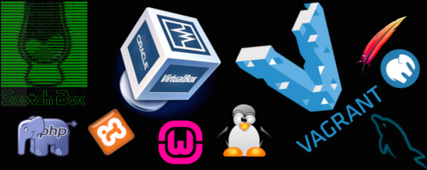 A bunch of the logos for the tech that we're using, LAMP, XAMPP, WAMP, MAMP, Scotch Box, Vagrant