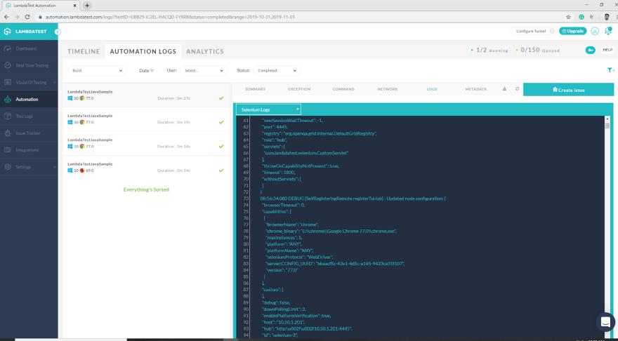 lambdatest dashboard