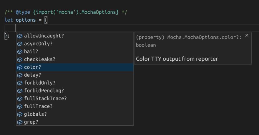 example of intellisense for mocha's options
