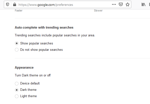 Appearance settings on Google search website