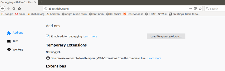 "screenshot of the ""about:debugging"" page in Firefox"