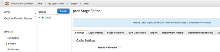 AWS API Gateway console
