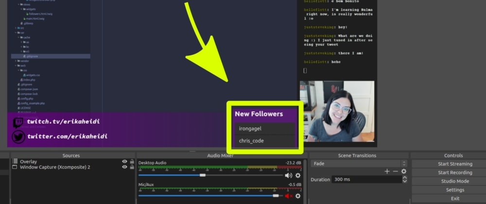 Cover image for Creating a Twitch New Followers Overlay for OBS in PHP