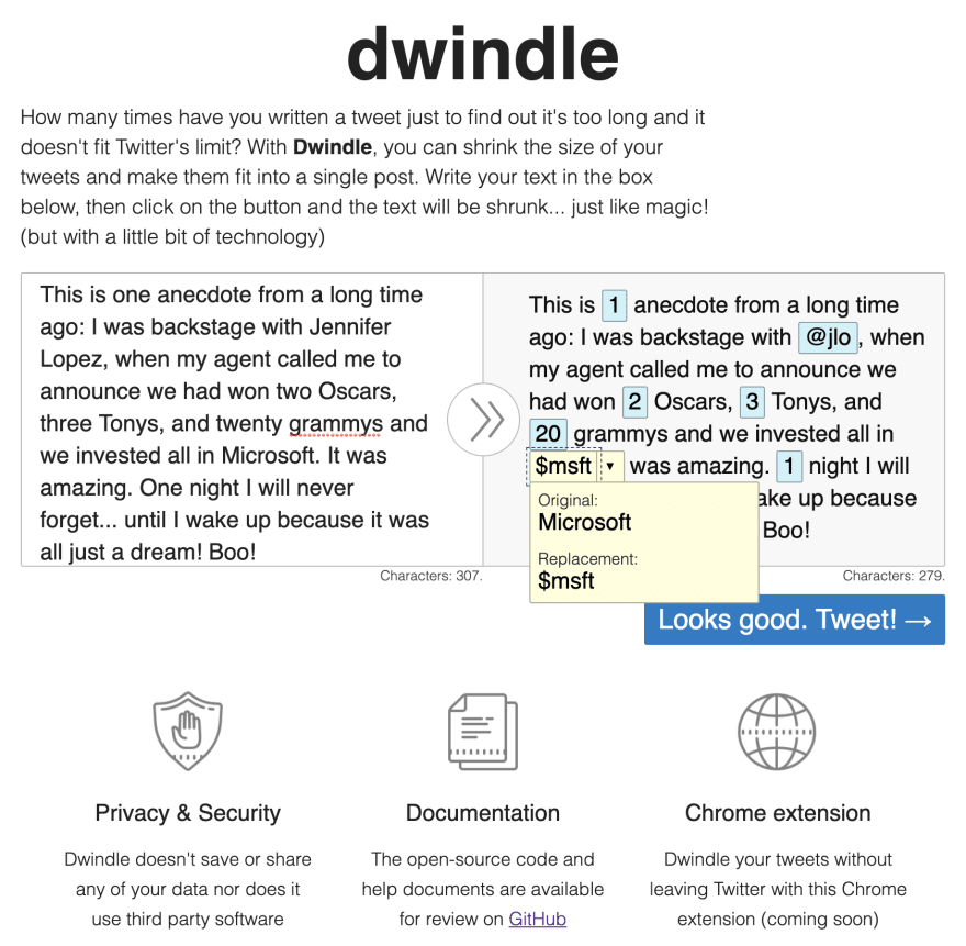 Screenshot of the Dwindle app