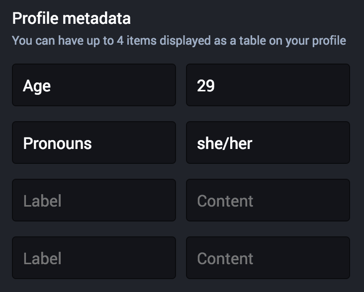 A set of four label and value fields for profile metadata.