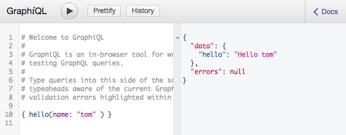 GraphiQL example