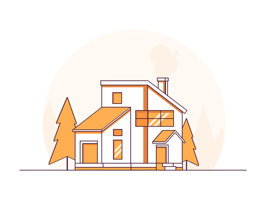 Minimalistic drawing of a house using lines