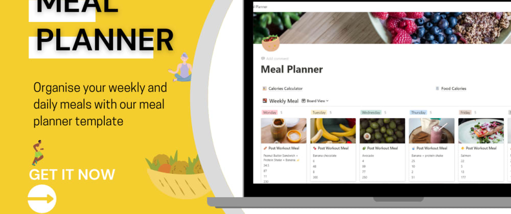 Cover Image for Plan your weekly meals 🥗 with this template