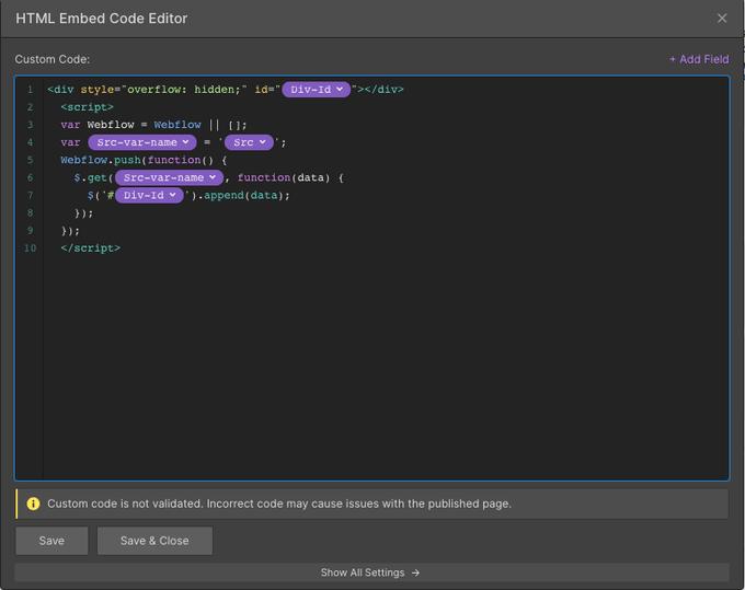 Webflow code insertion