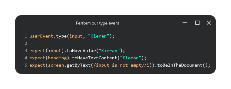 Perform out type event with assertions