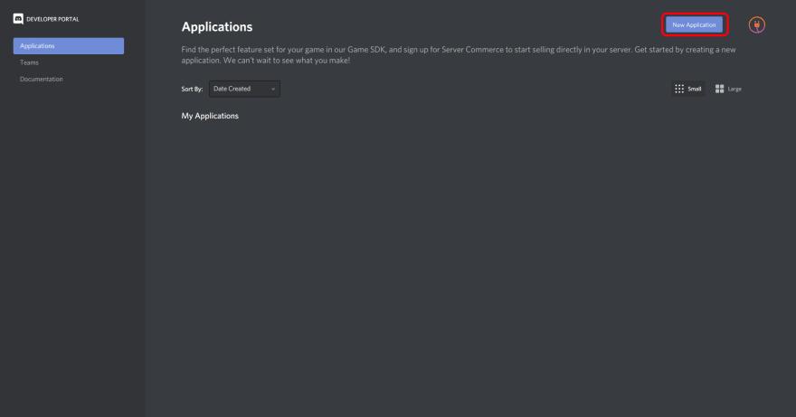 botão new project da pagina de aplicações do Discord