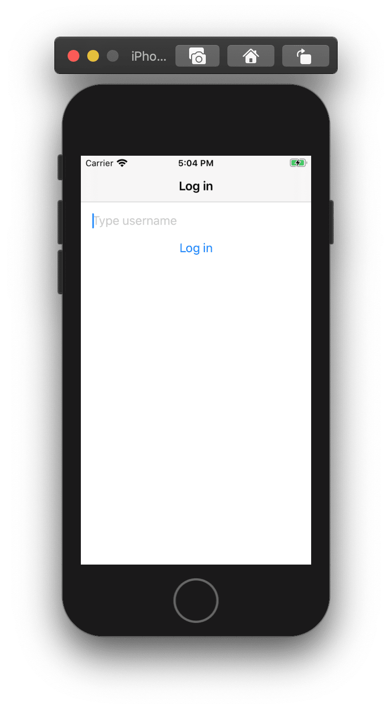 Screenshot shows a simple login screen running on the iPhone simulator