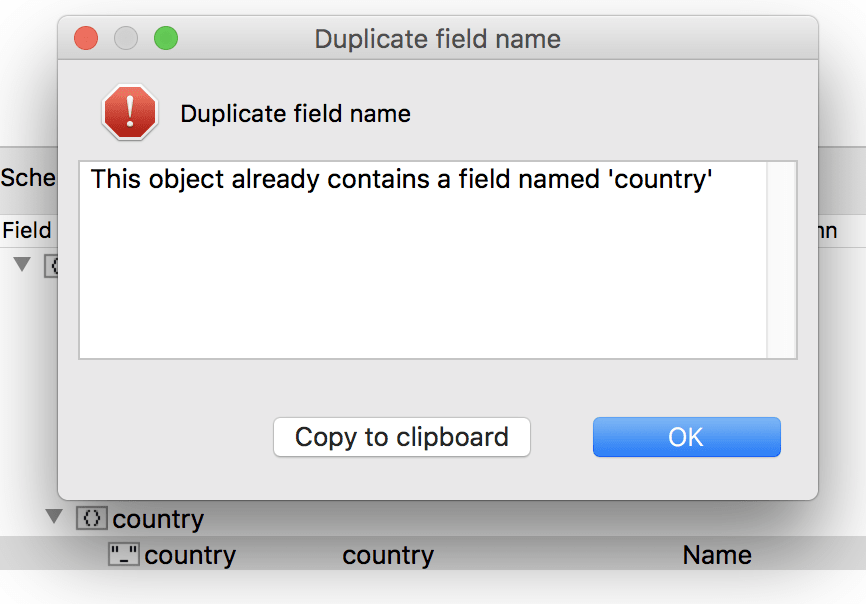 The field country turns out to be a duplicate field