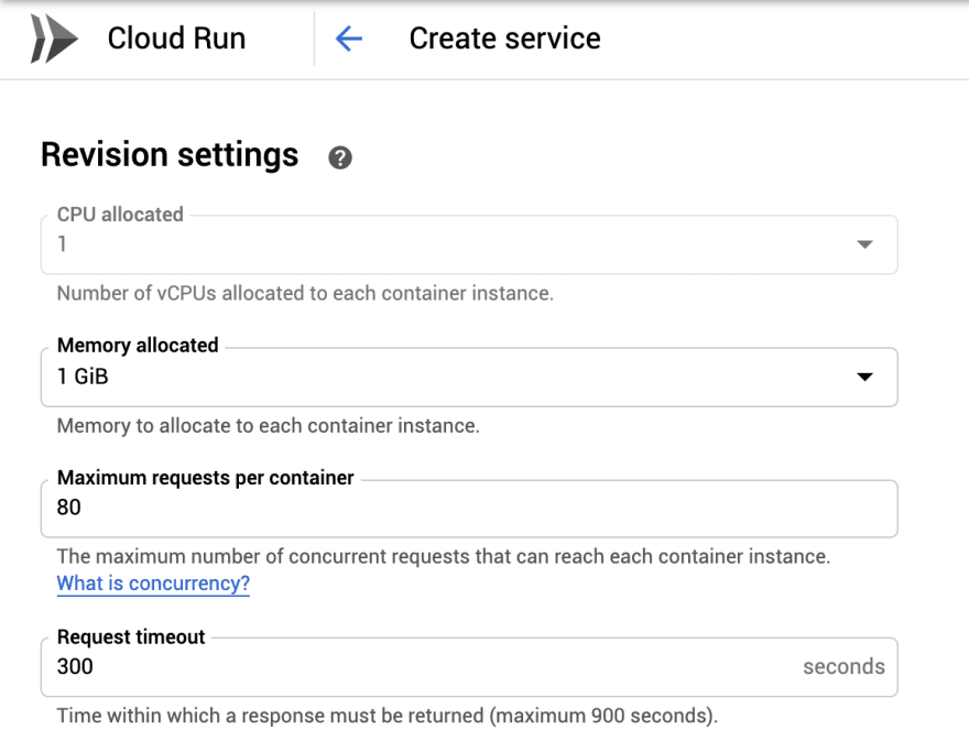 Google Cloud Run configuration