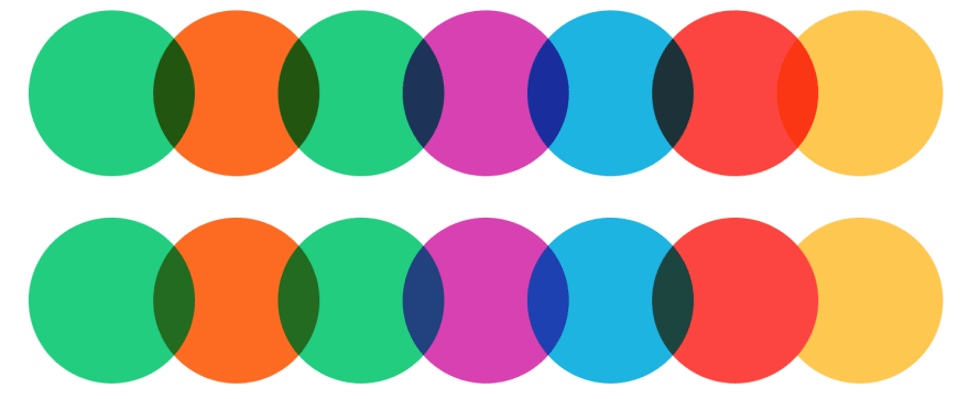 Side by side comparison between multiply (top) and darken (bottom) on single colors.