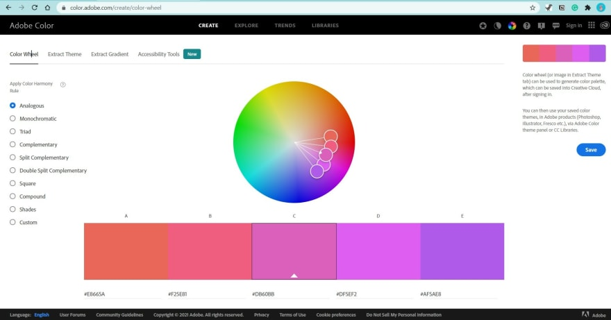 Screenshot from Adobe Colors' Website