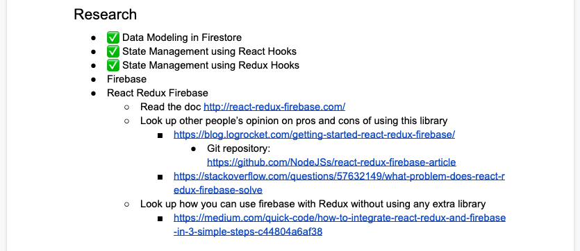 Google Doc Research Section