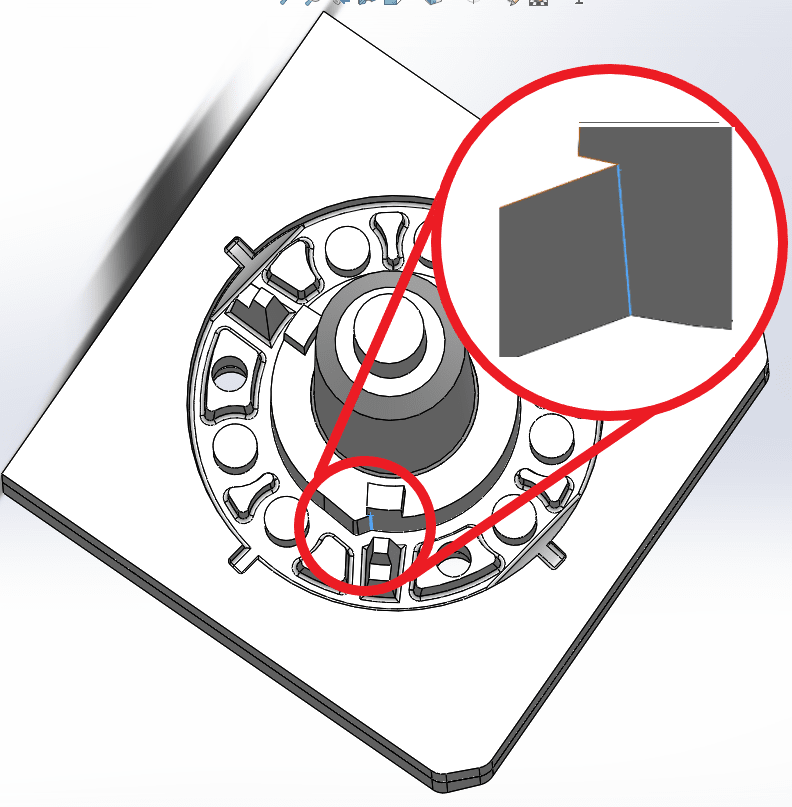 A zoomed in view of the core pin showing a flaw in the design.