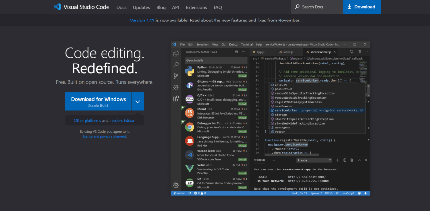 VS Code landing page