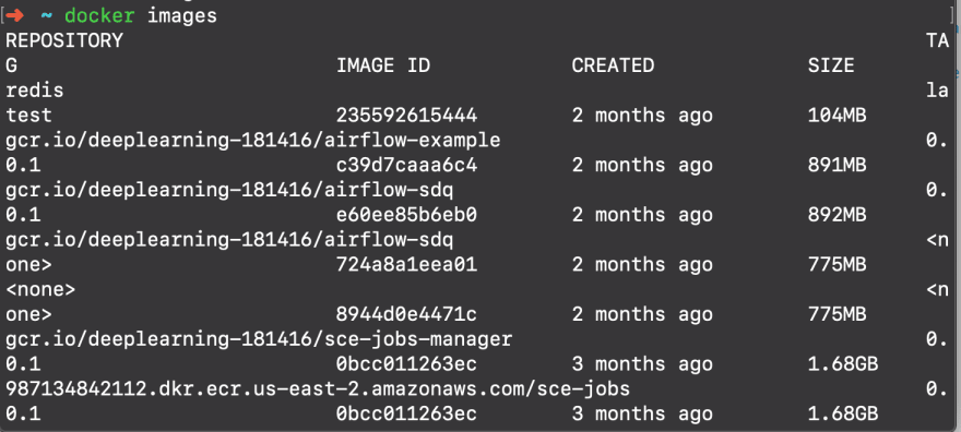 list of docker images on the machine