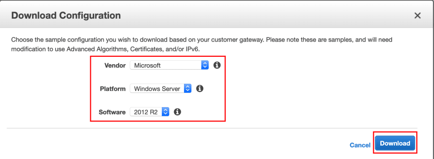 AWS choose the type of the Customer Gateway Device