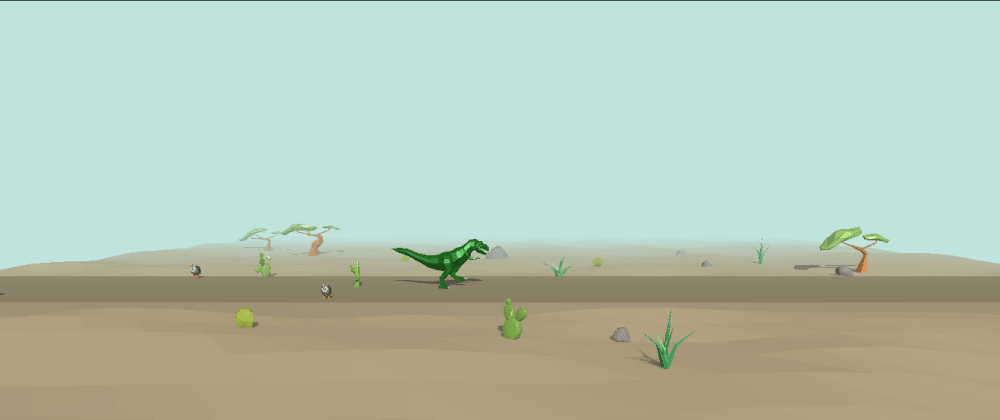 Cover image for Three.js Chrome Dinosaur 3D game. (WIP)