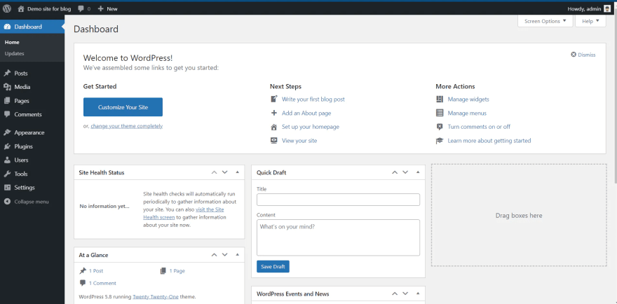 WordPress - dashboard