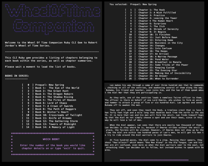 Three screenshots that outline each level within the program's interface: Book, Chapter, Summary.