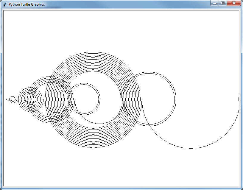 Our turtle spirals in beautiful, large, interesting circles.