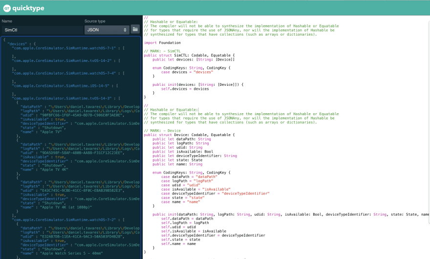 SimCtl swift model being generated using QuickType
