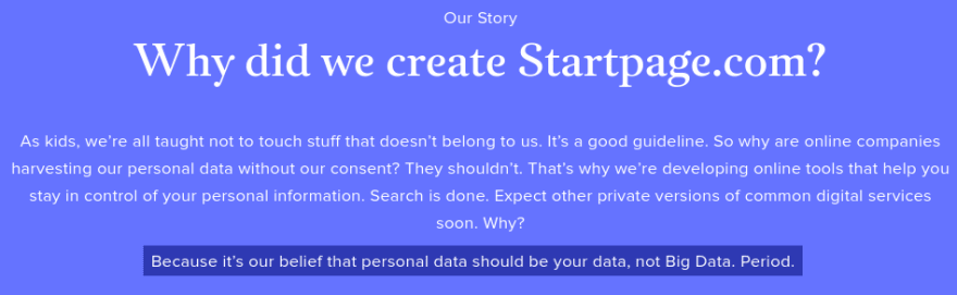 Startpage's privacy message