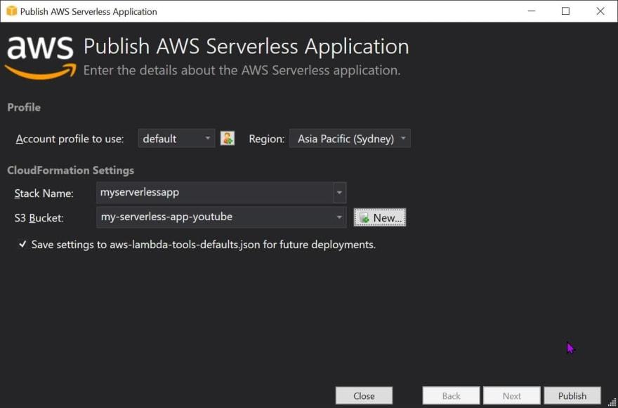 Publish AWS Serverless Application in Visual Studio