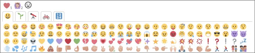 Screenshot of reactions interface