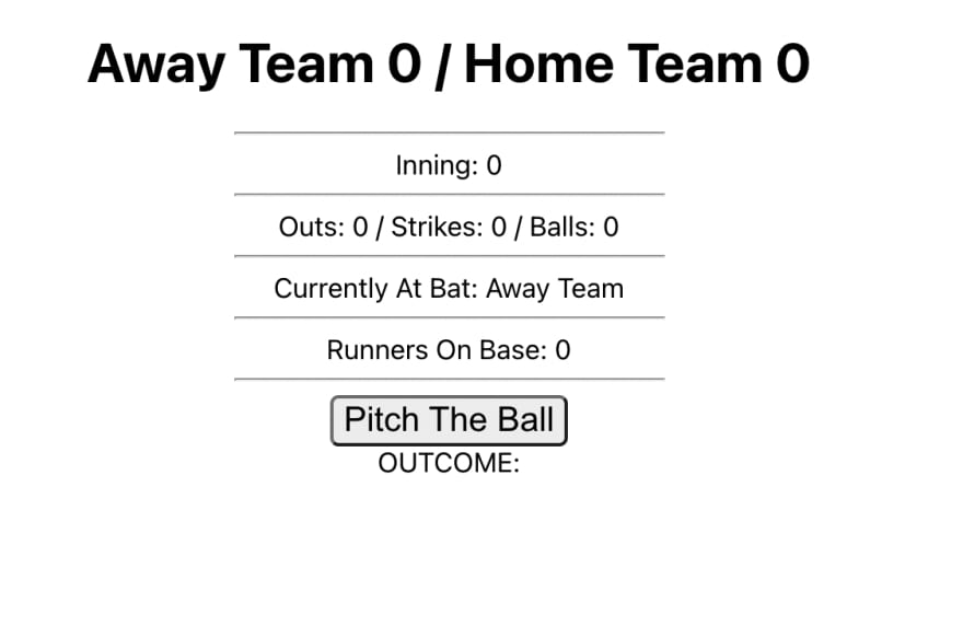 A baseball scoreboard with Away Team and Home team, outs, strikes, balls, who is at bat, and runners on base