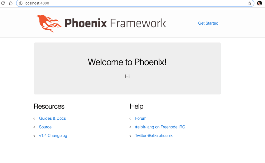 Phoenix hello world screen