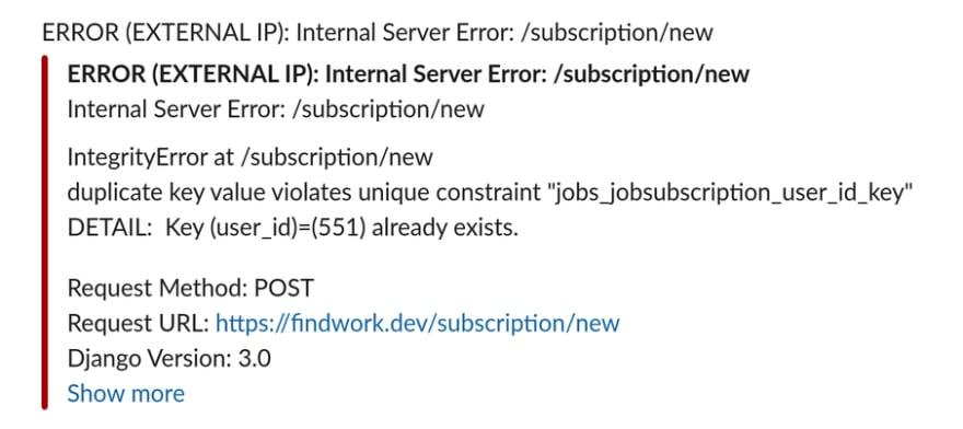 picture of Slack error reports