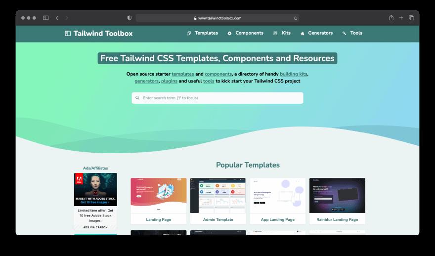 Screenshot of Tailwind Toolbox website