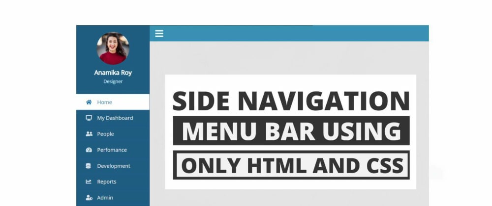 Cover Image for Sidebar Menu Using HTML and CSS
