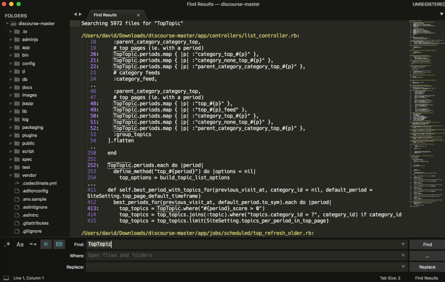 Project search in Sublime Text 3