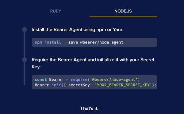 Instructions to install the Bearer Agent in a Node.js project.