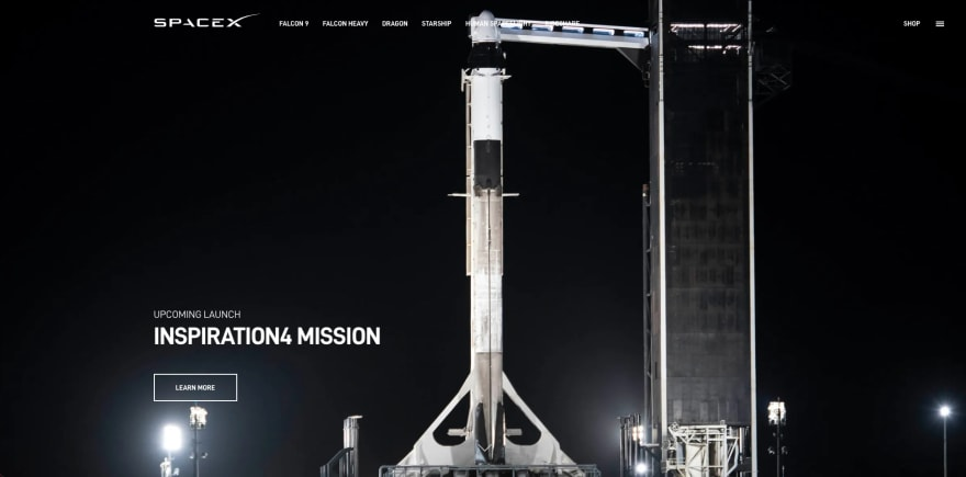 Spacex website section