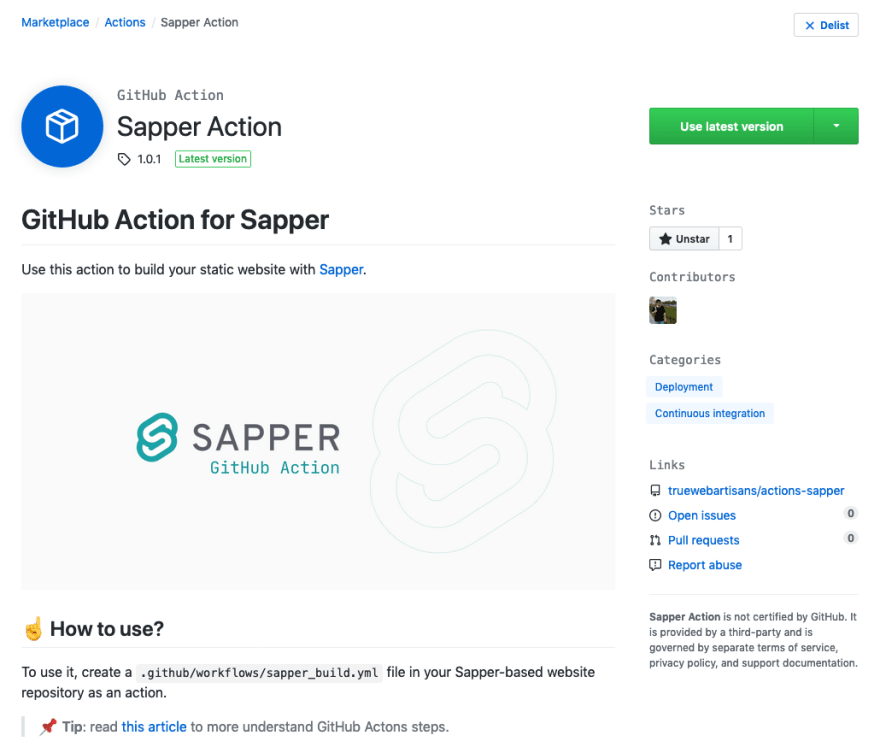 gh action page on marketplace