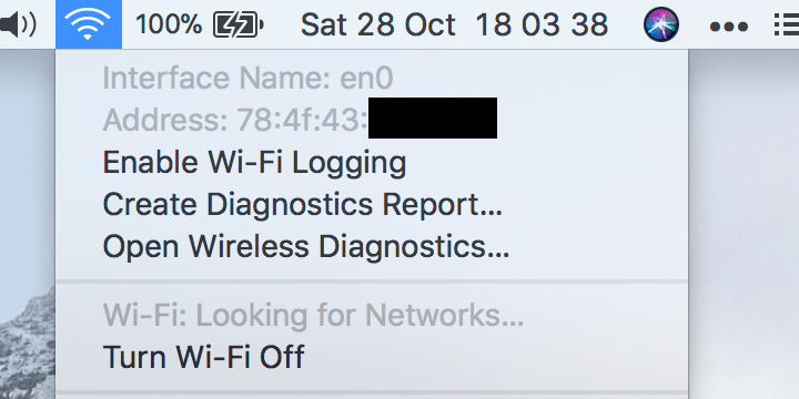 Example image which shows the listing provided after holding Option key while left-clicking Wi-Fi icon located in macOS' status bar.