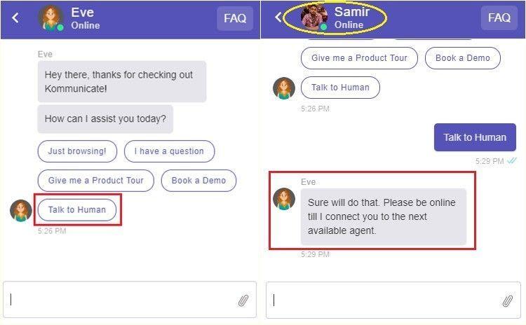 Bot to human handoff example with Kommunicate
