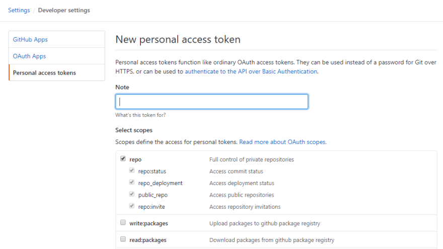 New personal access token