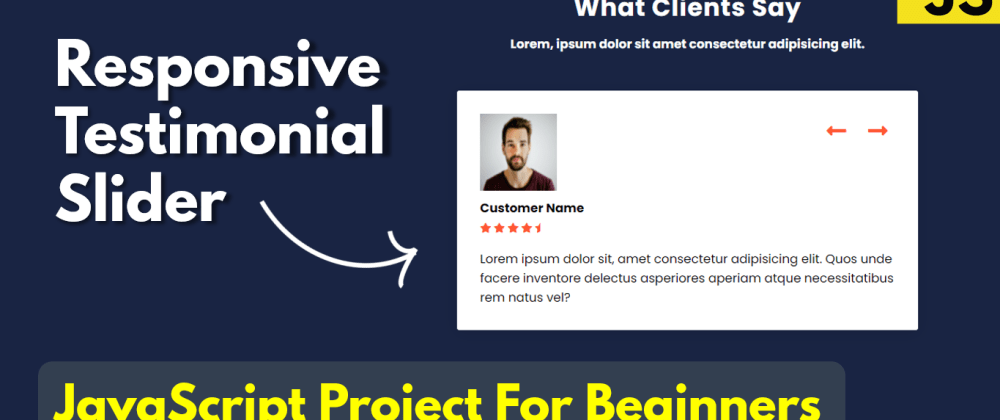 Cover image for Responsive Testimonial Slider JavaScript | JavaScript Project