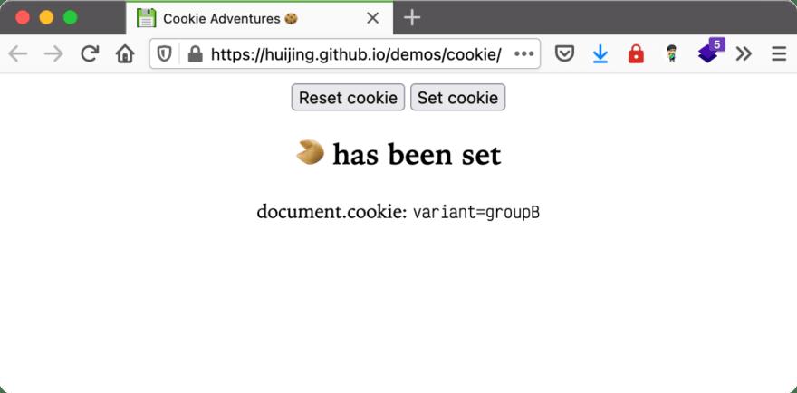 Screenshot of cookie demo site