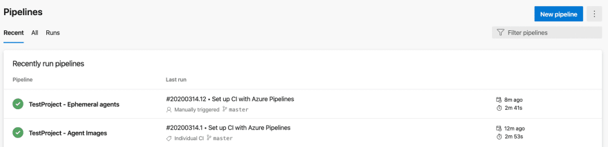 Two main pipelines defined