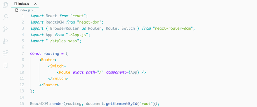 React code snippet with the Material - Lighter theme